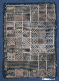 Machine-made net marked off in fifty-four squares; with forty-seven showing embroidery design.