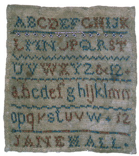"""Alphabets and four numbers with """"Jane Hall"""" in colored beads"""