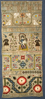 Alphabets, floral designs, verse, signature and Virgin and Child with Shepherds.