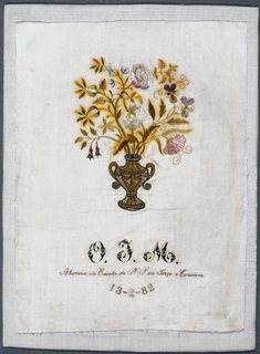 "A vase of flowers and the inscription ""O.T.M. Alumna da Escola de N S do Terço e Caridade 13-2-82"" (Alumna of the School of Our Lady of Charity)"