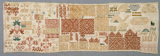 Sampler divided into three vertical panels, each filled with border designs and floral ornaments. Selvage at both sides of the cloth.