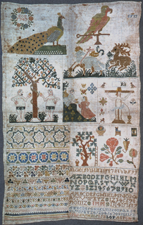 Birds, Pascal lamb, St. Hulbert's stag, Adam and Eve, the Annunciation, the Crucifixion, alphabets and sets of numerals.