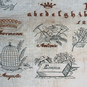 Alphabets and monograms in red and white. Letters and designs were drawn on the cloth before the embroidery was begun. The larger holes were cut; the smaller ones pinches; both were overcast.