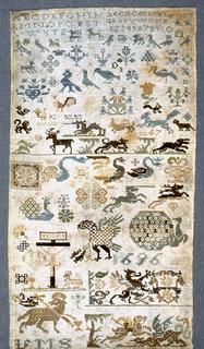 Detached motifs of religious significance plus animals, birds, flowers.