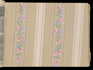 Samples of wallpaper ranging in price from .04 cents to 48 cents per roll. Samples include ingrains, oatmeals, embossed, sanitary and ceiling papers.  Numerous examples of tapestry papers.  Advertisements for paints, brushes, window shades and paper hanging tolls as well as Sanitas at beginning of book. Illustrated hanging instructions. Illustrated independent friezes including Kiddies Delight.