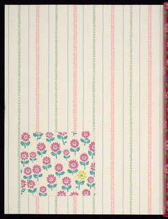 a) Sample book: in multiple colorways, 26 contemporary wallpaper and fabric patterns designated by international river names. 95 wallpaper samples with floral stripe, geometric, stripe, diamond diaper, all-over floral, weave and children's designs. Some are in relief. Photographs of room settings using the patterns bear captions in four languages, including English. Vinyl cover with strap handle; b) Fitted box of heavy cardboard covered with blue buckram.