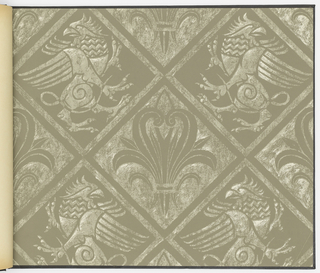 "Horizontal rectangle bound in black with purple cross forming the ""T"" in ""Ecclesiastica."" Contains nine designs appropriate for use in churches, cestries, etc. The patterns include: ""Griffin"", ""Celestial Damask"", ""Symbolic"", ""Peacock"", ""Filigree"", ""Glorious Damask"", ""Doves"", ""Four Evangelists"" and ""The Cross""."