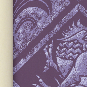 """Horizontal rectangle bound in black with purple cross forming the """"T"""" in """"Ecclesiastica."""" Contains nine designs appropriate for use in churches, cestries, etc. The patterns include: """"Griffin"""", """"Celestial Damask"""", """"Symbolic"""", """"Peacock"""", """"Filigree"""", """"Glorious Damask"""", """"Doves"""", """"Four Evangelists"""" and """"The Cross""""."""