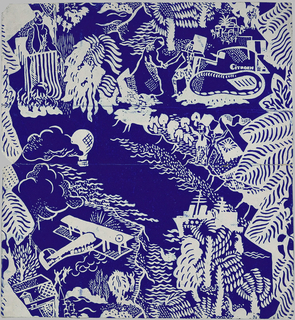 Children's or nursery paper, showing images of airplanes, Citroen tanks, battle ships, figures and tropical foliage. Printed in white on a deep blue ground.