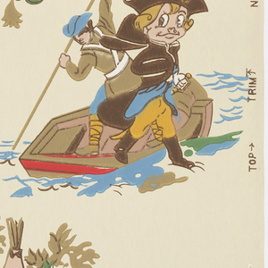 Children's or boys' paper. The main character in this design is Sparkie, a puppet who thought he was a real boy, acting out famous scenes in American history including George Washington crossing the Delaware, Paul Revere making his historic ride, and Buffalo Bill with Sitting Bull. Printed in green, gold, red and brown with blue on an off-white ground.