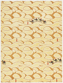 Mounds of desert sand interspersed with camel caravan and figures. Printed in tans, black and red.