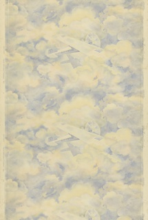 "Vertical rectangle, a full width, repeating vertically, showing two and one half repeats. Airplane, the ""Spirit of St. Louis"", with name lettered on fuselage, against a background of cloud shapes on which the plane's shadow is cast.  Printed in blue, red and light yellow. Children's paper."