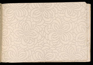 Samples of wallpaper ranging in price from .04 cents to 48 cents per roll. Samples include ingrains, oatmeals, embossed, sanitary and ceiling papers.  Numerous examples of tapestry papers.  Advertisements for paints, brushes, window shades and paper hanging tools as well as Sanitas at beginning of book. Illustrated hanging instructions. Illustrated independent friezes including Kiddies Delight.