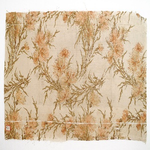 Cream ground with sprays of thistle printed in brown and orange.