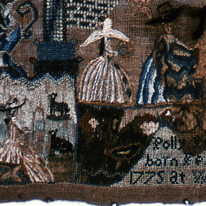 This sampler, made at the Polly Balch School in Rhode Island, shows an arched framing device enclosing a scene with a brick building and several figures of fashionably dressed men and women. Urns of flowers form a floral border on three sides. At the top a short verse:  Honor and renown will the ingenious crown   Under the arch, the inscription: Wrought August 12 1786 at Providence  and at the bottom:  Polly Putney born Feb 15 1775 at Warren  Silk embroidery on linen foundation.