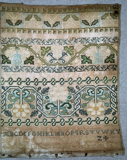 """The lower portion of a sampler with bands of pattern, an alphabet, """"Sarah Grundy, Anno Domini 1653"""" and a set of numerals."""