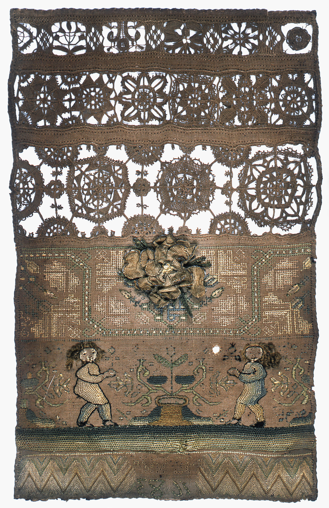 """Three bands of reticella, a band of embroidered flowers in a curving vine, a band with two figures and a plant, and a band of geometric pattern interrupted by the inscription """"E. W. 1683."""" At the center is a three-dimensional rose made by looping stitches over a wire outline. The clothes on the figures and the ground at the bottom were worked independently in a looping technique and were applied to the foundation."""