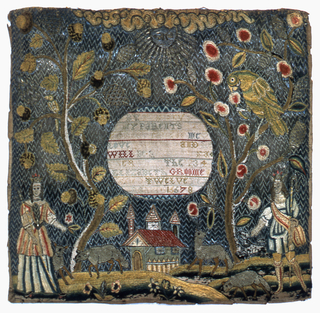 Scene of a crowned shepherd and shepherdess in a rural landscape with sheep and a dog, an oak tree to the left and an apple tree with a large parrot to the right, the sun at the top and a church at the bottom. Mica is used as the windows of the church; the background is of couched metallic yarns. In the center a reserved circle with the inscription: By this you see my parents took great care of me  Love the Lord and he will be tender Father unto thee July the 23 Elizabeth Groome aged twelve year 16678 (sic)