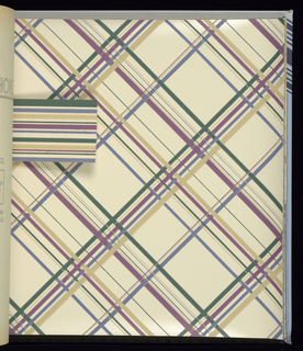 Paper with matching borders.  Stripes, plaids, small scale patterns in blue, grey, and burgundy. Contains 14 different patterns, each in multiple colorways.