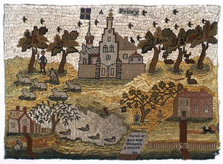 """Rural landscape with flock of sheep and shepherds, cottage with duck pond, house with figures under a tree, dominated by a large building labeled A Priory. At the bottom, a gravestone-like shape contains """"Sarah Ann Wimpory, 9 years"""""""