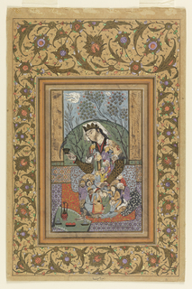 A central figure is seated on layers of geometric and vegetal carpets, wearing a short-sleeved robe composed of many male figures and animals that are constrained to the frame of the garment.  A garment like a coronet draped with a white cloth is worn upon the head.  The figure is holding in the right hand a small vessel with a bird perched upon the rim.  Laid upon a small carpet at the feet of the figure is a bowl of fruit, two small vessels, and a tall, handled ewer with elongated spout.  In the background (possibly viewed through a window?) is a large green mound framed by two trees in bloom, with clouds rendered to appear fast-moving.