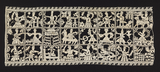 Panel of lace with three horizontal bands divided into eight squares each, depicting scenes from the biblical story in which Judith severs Holoferne's head to save her people. With geometric edging on three sides; cut on the right.