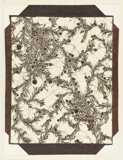 Rectangular sheet composed of multiple layers of mulberry paper.  A design of clumps of juniper branches and leaves with scattered berries of varying sizes is created by cutting away most of the ground leaving the positive of the design.  The interstices of the design are supported by strands of human hair.