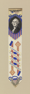 Bookmark produced by B. B. Tilt & Son of New York and Paterson, NJ, made of woven silk with a portrait of George Washington, commemorating the American Centennial of 1876.