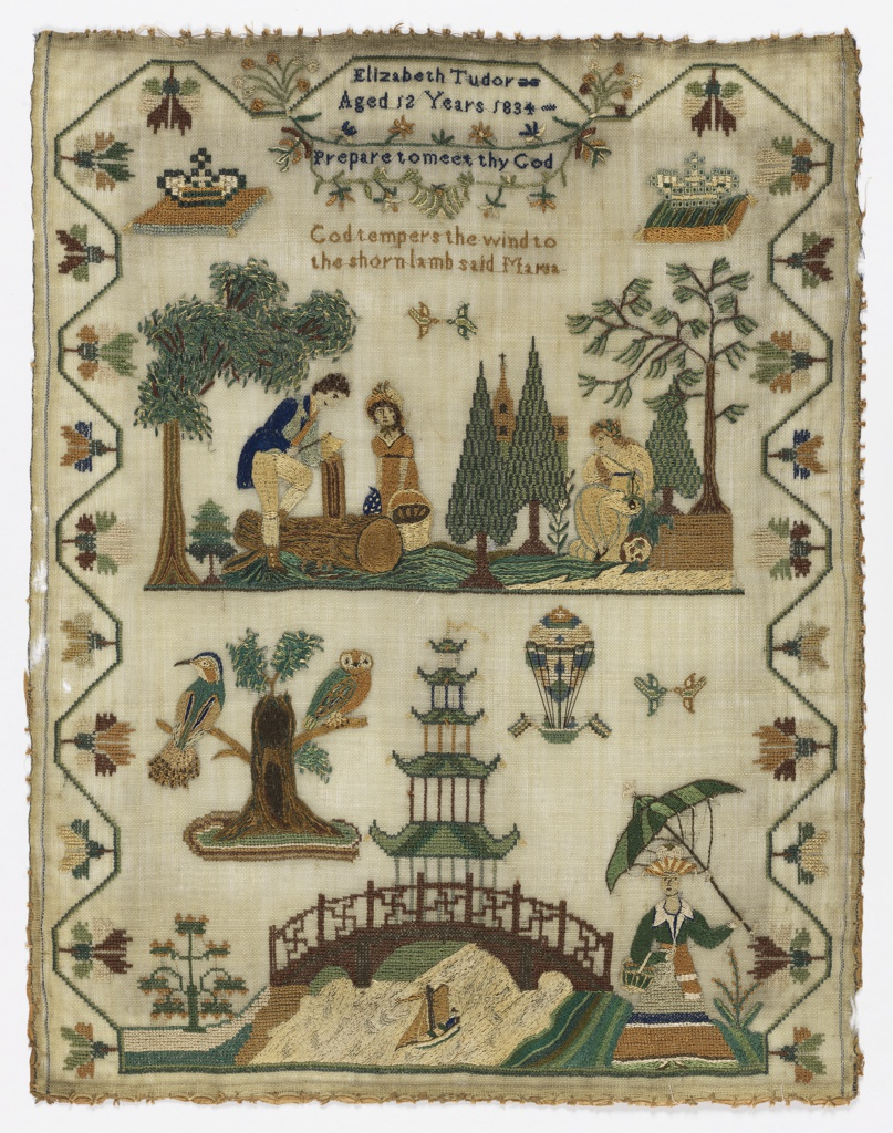 "Two scenes and a short text within a curving floral border. Top central scene is an illustration of a scene in Laurence Sterne's book ""A Sentimental Journey"" showing the dejected character, Maria, as she is described in the book. The book is quoted: ""God tempers the wind to the shorn lamb said Maria.""  The bottom scene shows a pagoda over a bridge, a woman holding a parasol and a basket, and two owls sitting in a tree. A balloon carrying two passengers is rises over the pagoda.  The text at the top reads, ""Elizabeth Tudor Aged 12 years 1834"" and ""Prepare to meet thy God."""