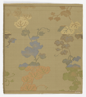Panel of tan silk with figured design of fine pendant branches with leaves, in green, brown, blue and tan silks and silver paper.