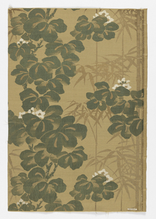 Tan silk ground with design of flowering oxalis plants and bamboo foliage in green and white silks and gold paper.