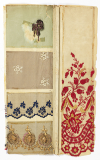 Samples of machine-made lace and embroidery and printed fabrics.