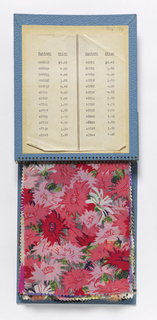 "Sixty samples of printed silk, cotton, and synthetic fiber fabrics. Presented in a blue cloth-covered binder, printed in gold: ""Spring and Summer 1938. Bianchini Férier, Inc. 663 Fifth Avenue New York, Paris, Lyon."""