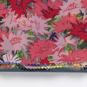 """Sixty samples of printed silk, cotton, and synthetic fiber fabrics. Presented in a blue cloth-covered binder, printed in gold: """"Spring and Summer 1938. Bianchini Férier, Inc. 663 Fifth Avenue New York, Paris, Lyon."""""""