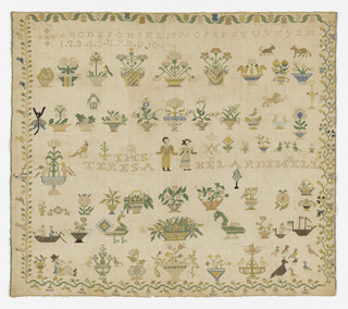 Within a floral border (of four designs) are alphabets, numerals and the maker's name (Teresa Belardi Nell), people, animals, birds, ships, and flowering plants.