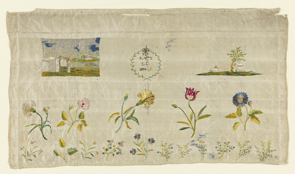 """Seascape with island; landscape with urn and altar; sixteen flowering sprays arranged in two rows; initials """"R. vM."""" and """"I. C."""" with the date """"1804"""" in a wreath."""