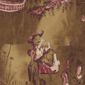 Cotton ornamented with chinoiserie design in four scenes; a woman dancing, a woman musician, a man dancing, and man digging. Printed in red and two shades of brown.