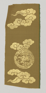 Beige ground with gold dragon medallions and clouds.