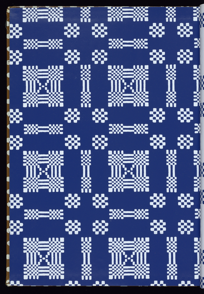 Collection of twelve designs with contemporary styling. Most designs are nature-inspired, with 2 bold geometric designs. Each design is shown in multiple colorways. Titles include: Grand Souk, Petit Souk, Lady Windermere's Fern, Sea Shells, Tisket a Tasket, Giant Country Tulips, Country Tulips, You're Beautiful When You're Angry, Over the Rainbow, Africana, Chat, Chanin, and Natchez.