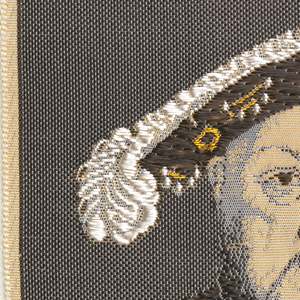 "Woven souvenir based on the painting 'Portrait of Henry VIII' (c. 1540) by Hans Holbein the Younger (1497-1543). ""W.W.L. CO. 1963 DEL. H.H."" appears below the portrait. W.W.L. CO. represents Warner Woven Label Co. Del H.H. is the designer's (Howard Huffsschmidt) initials. In black, burgundy, golden-yellow, white, and salmon on white warp."