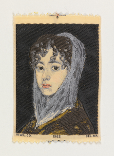 "Woven souvenir based on the painting 'Señora Sabasa Garcia' (c. 1806/1811) by Francisco Goya (1746-1828). ""W.W.L. CO. 1962 DEL. H.H."" appears below the portrait. Black, blue, golden-yellow, pink, and salmon on white warp."