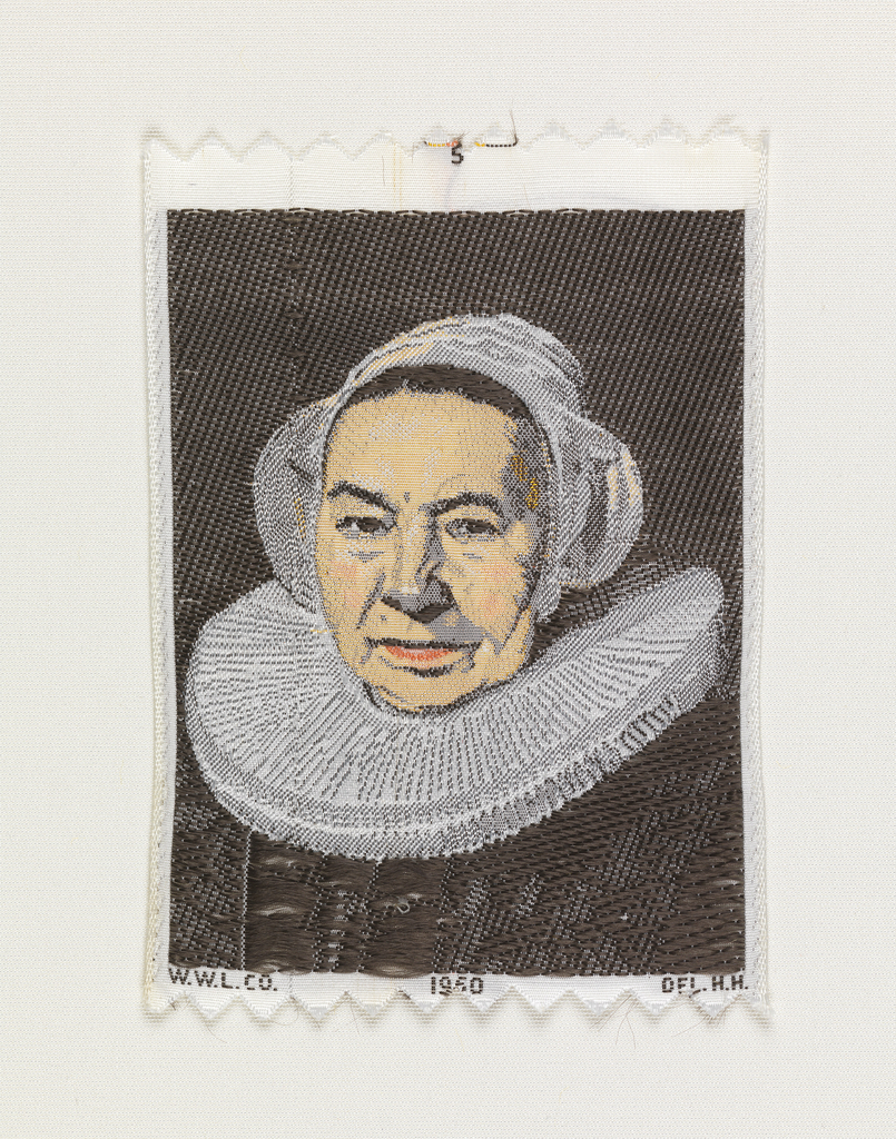"Woven souvenir based on the painting 'Vrouw Bodolphe' (1643) by Frans Hals (1584-1666). ""W.W.L. CO. 1960 DEL. H.H."" appears below the portrait. Salmon, pink, gray, white, and black on white warp."