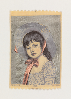 "Woven souvenir based on the painting 'Miss Juliana Willoughby' (1781-1783) by George Romney (1734-1802). ""W.W.L. CO. 1959 DEL. H.H."" below portrait. W.W.L. CO. represents Warner Woven Label Co. Del H.H. is the designer's (Howard Huffsschmidt) initials. In twisted green and brown, yellow, gray, black, pink, and salmon on white warp."