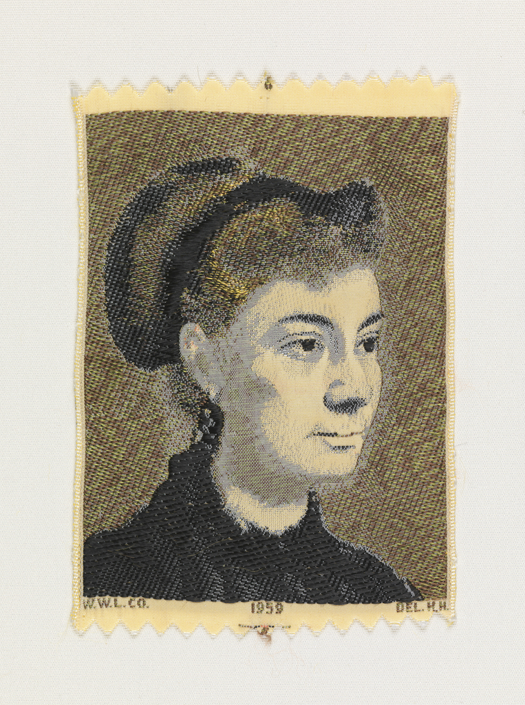 "Woven souvenir based on the painting 'Portrait of a Young Woman' (1867) by Edgar Degas (1834–1917). ""W.W.L. CO. 1958 DEL. H.H."" appears below the portrait. Pink, blue, teal, black, and salmon on white warp."
