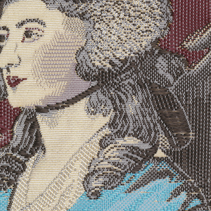"Woven souvenir based on the painting 'Mrs. Siddons' (1785) by Thomas Gainsborough (1727-1788). Yellow, blue, black, gray, and burgundy on white warp. ""12"" appears under the portrait."