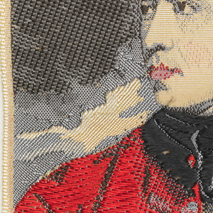 """Woven souvenir based on the painting 'General John Burgoyne' (c. 1766) by Sir Joshua Reynolds (1723–1792). """"14"""" appears above the portrait. """"W.W.L. CO. 1965 DEL. H.H."""" is below the portrait. Red, black, gray, and salmon on white warp."""