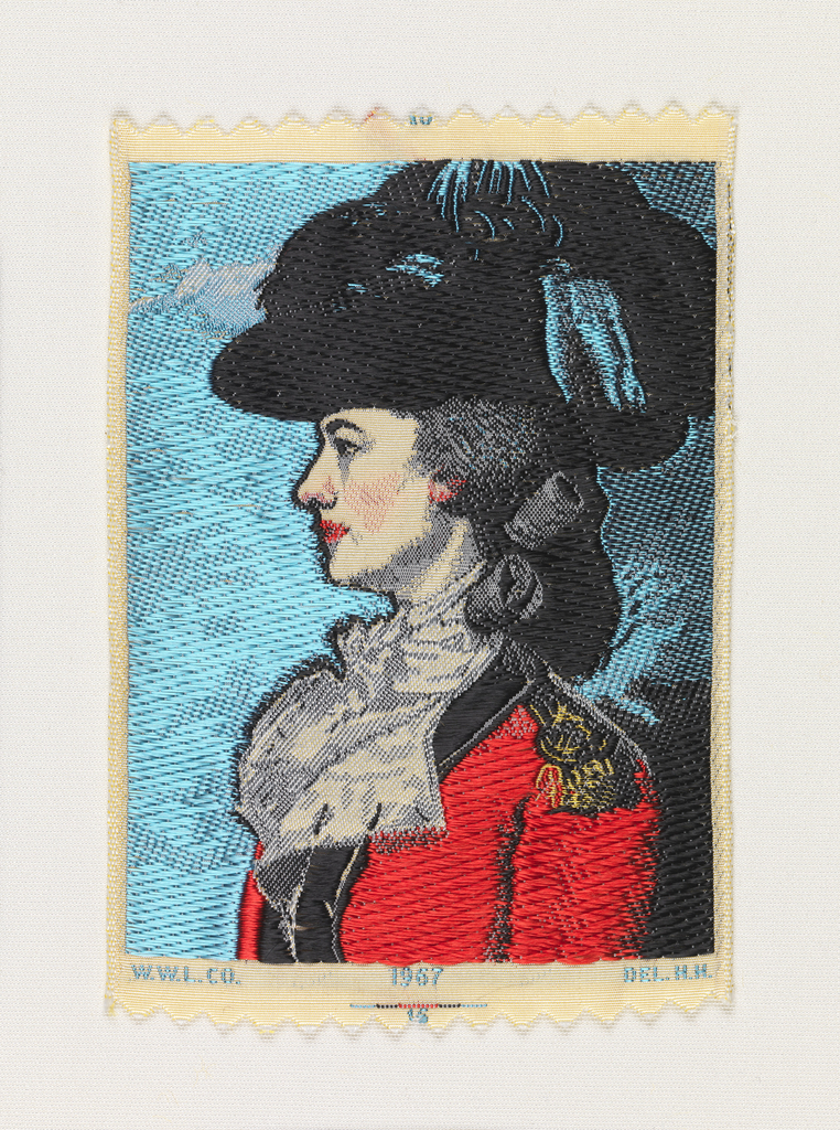 "Woven souvenir based on the painting 'Mrs. Frances Tucker Montresor' (ca. 1778) by John Singleton Copley (1738-1815). ""W.W.L. CO. 1967 DEL. H.H."" appears below the portrait. Blue, red, golden-yellow, gray, and black on white warp."