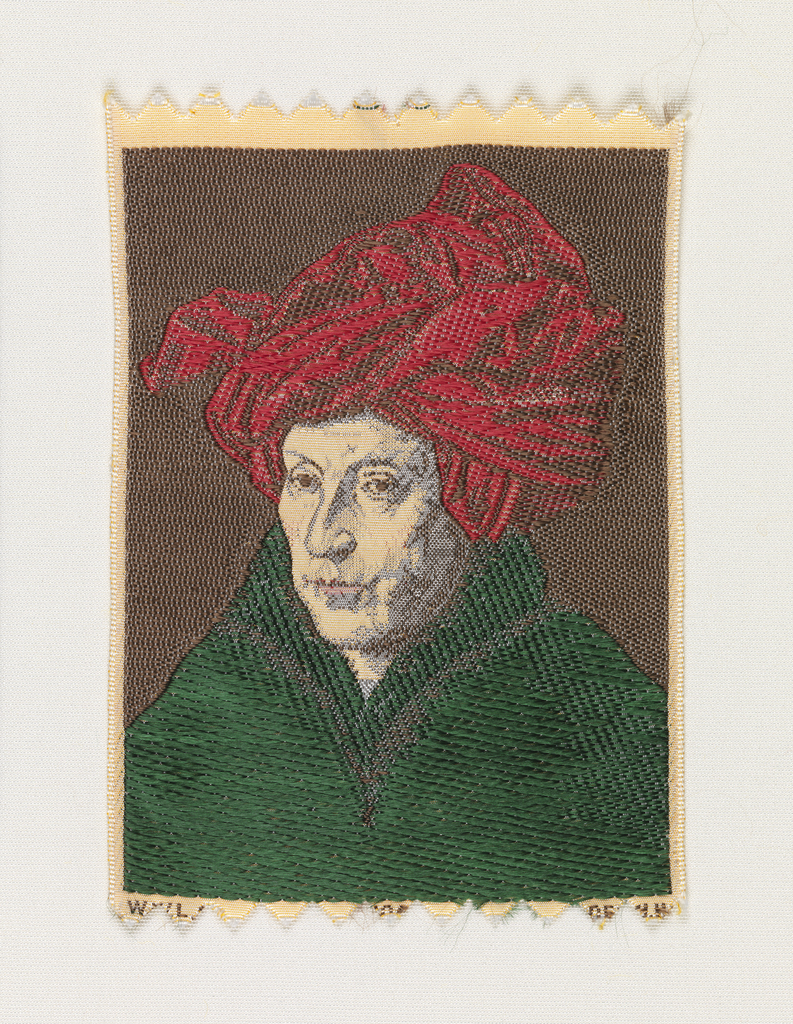 Woven souvenir based on the painting 'Portrait of a Man, (Self Portrait)' (1433) by Jan van Eyck (1390-1441). Yellow, red, brown, green, and salmon on white warp.
