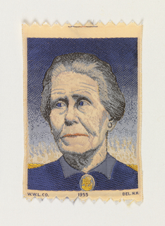 "Woven souvenir based on the painting 'Woman with Plants' (1929) by Grant Wood (1891–1942).  ""W. W. L. Co. 1955 DEL. H. H."" woven in lower part. Gold-yellow, brown, blue, gray, and salmon on white warp."