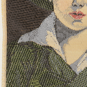 """Woven souvenir based on the painting 'The Torn Hat' (1820) by Thomas Sully (1783-1872). """"W.W.L. CO. 1969 DEL. H.H."""" woven in lower part. W.W.L. CO. represents Warner Woven Label Co. Del H.H. is the designer's (Howard Huffsschmidt) initials. In black, gold-yellow, red, green, and salmon on white warp."""